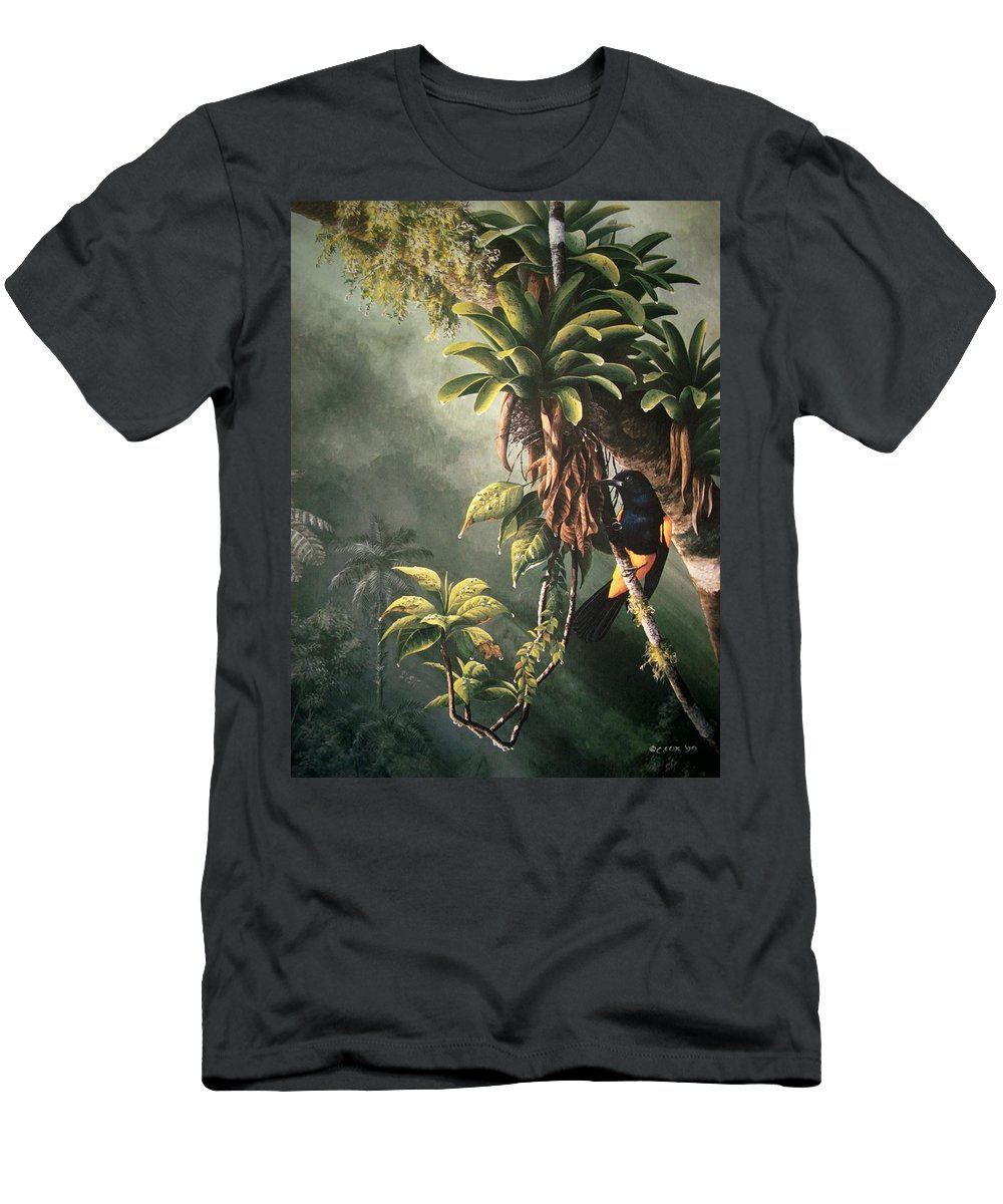 Chris Cox Men's T-Shirt (Athletic Fit) featuring the painting St. Lucia Oriole In Bromeliads by Christopher Cox