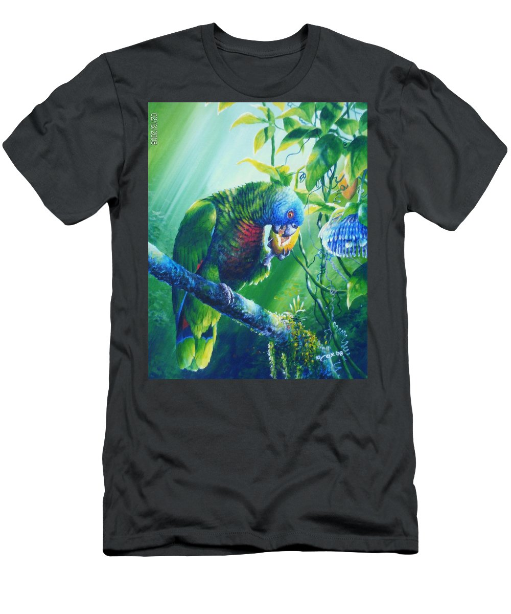 Chris Cox Men's T-Shirt (Athletic Fit) featuring the painting St. Lucia Parrot And Wild Passionfruit by Christopher Cox