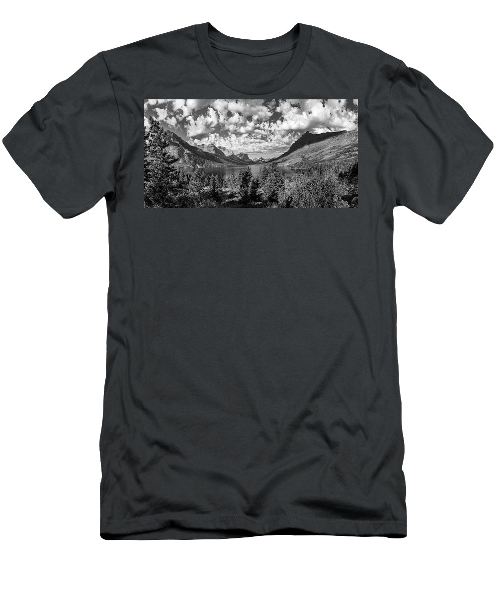 Glacier Men's T-Shirt (Athletic Fit) featuring the photograph St Mary Lake Glacier National Park Panoramic by John McGraw