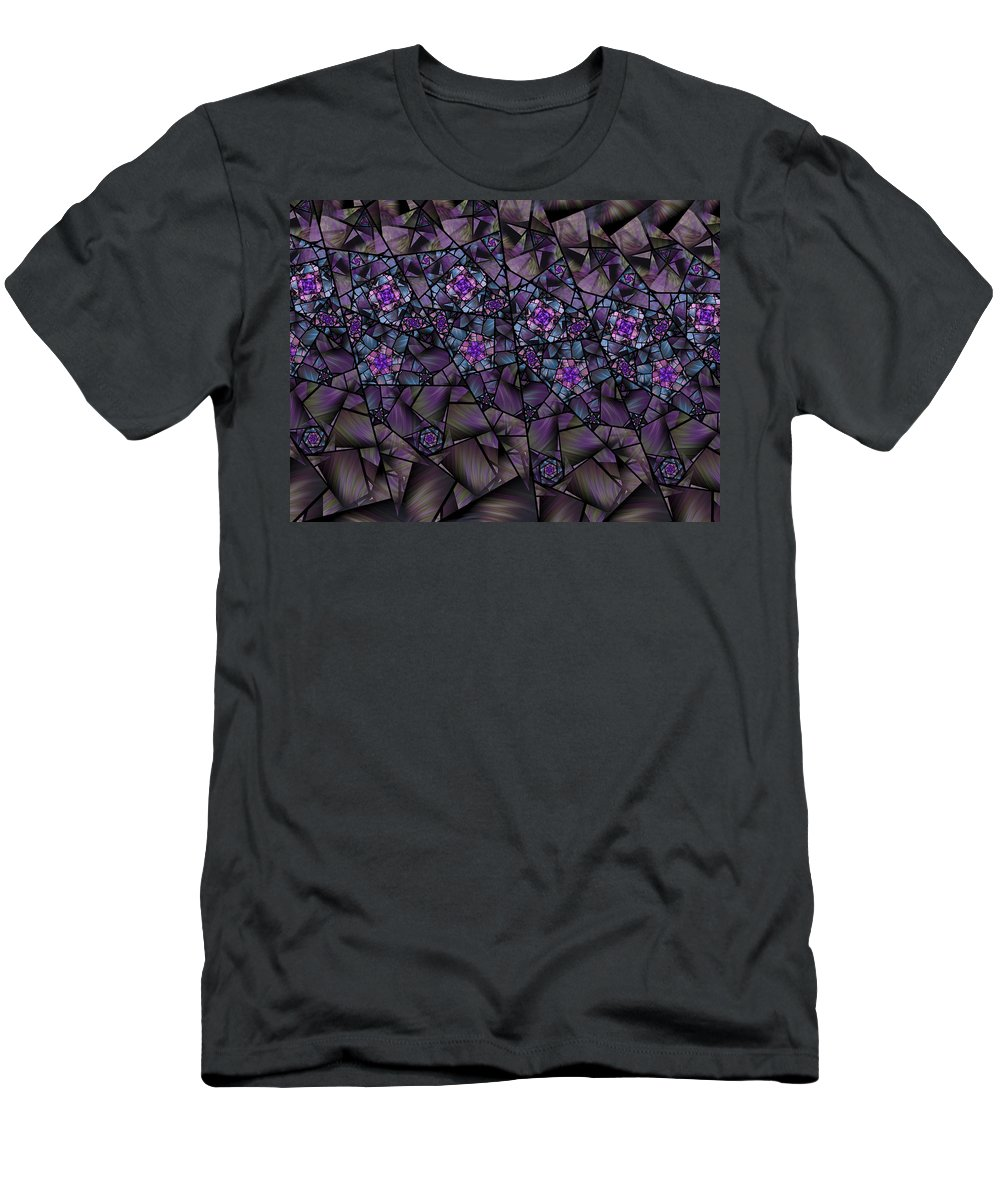 Fractal Men's T-Shirt (Athletic Fit) featuring the digital art Stained Glass Floral II by Amorina Ashton