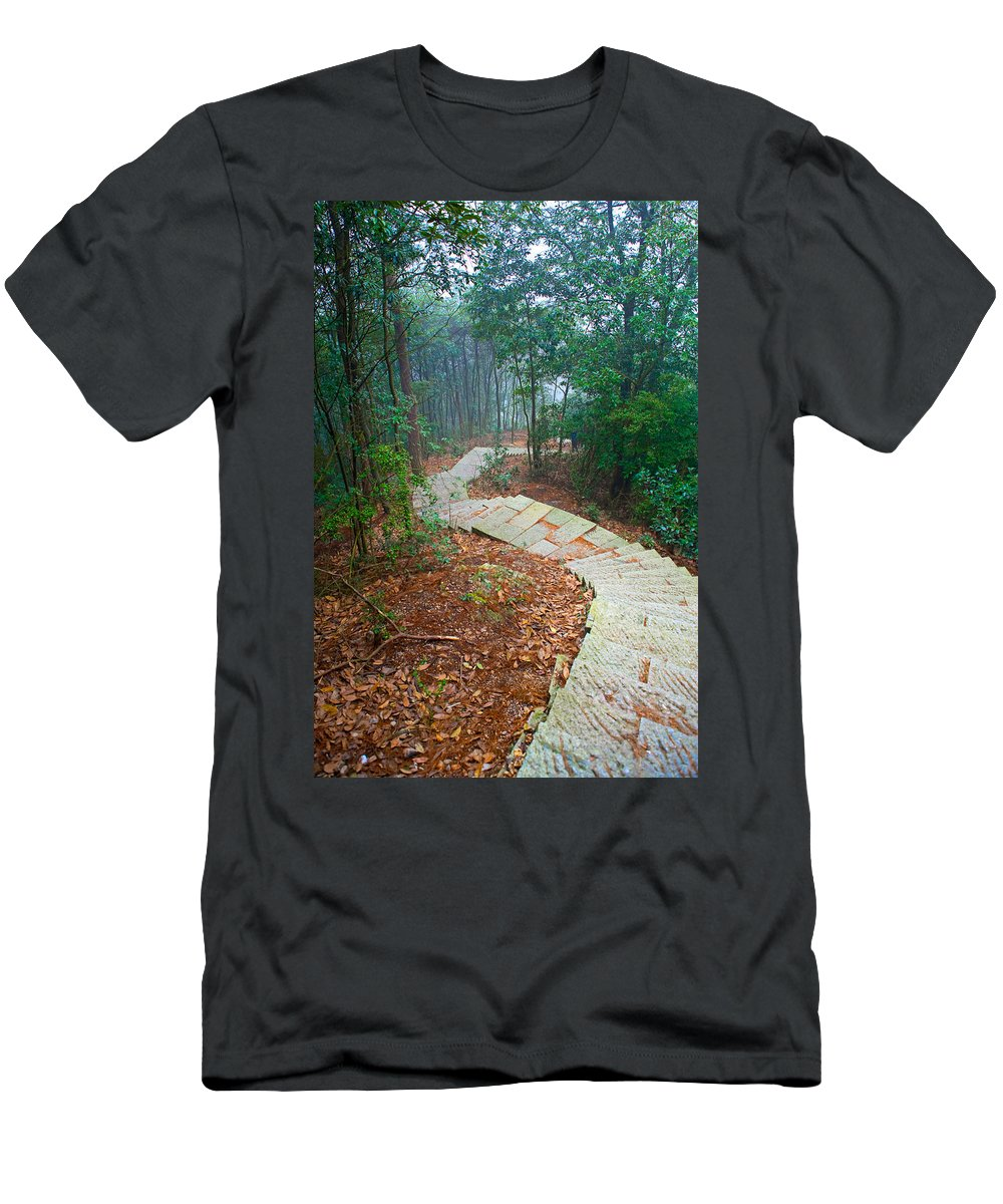 Trees Men's T-Shirt (Athletic Fit) featuring the photograph Stairs Down Mountain by James O Thompson