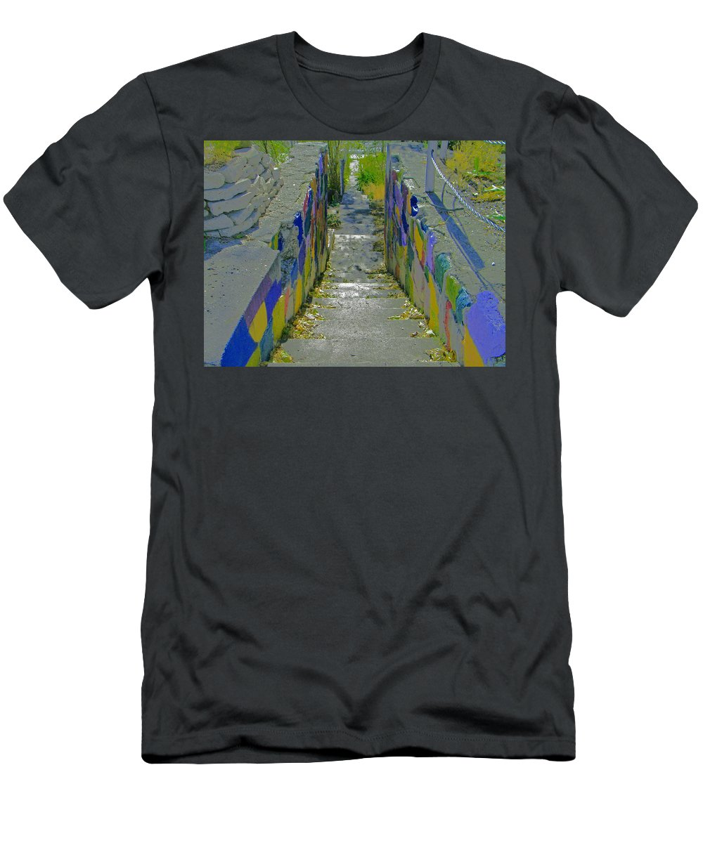 Abstract Men's T-Shirt (Athletic Fit) featuring the photograph Stairs With Painted Rocks by Lenore Senior