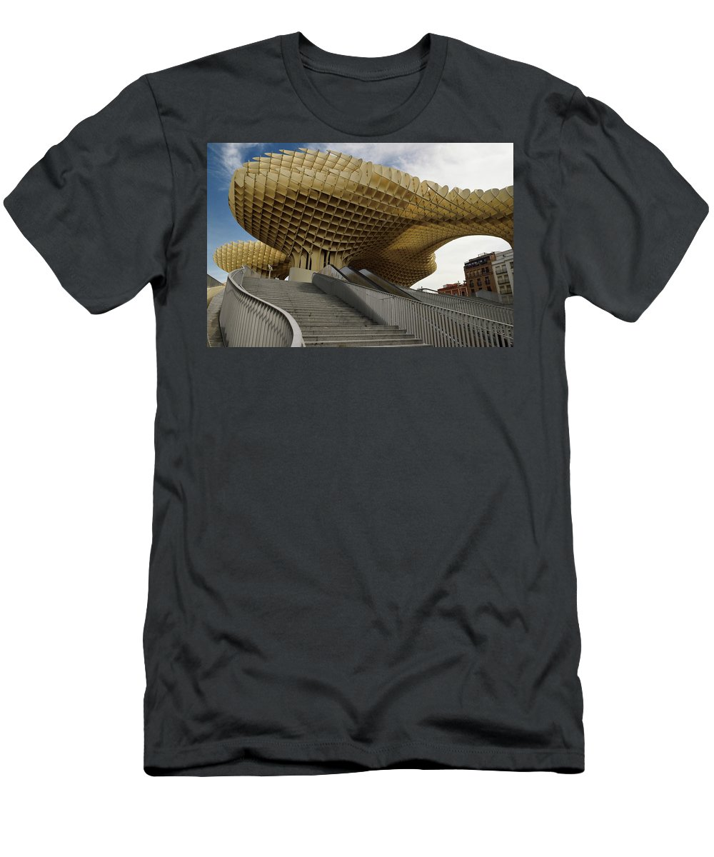 Stairway Men's T-Shirt (Athletic Fit) featuring the photograph Stairway Leading Up To Metropol Parasol In The Plaza Of The Inca by Reimar Gaertner