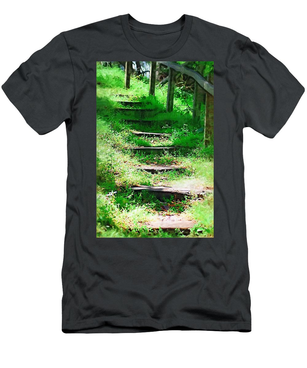 Stairs Men's T-Shirt (Athletic Fit) featuring the photograph Stairway To Heaven by Donna Bentley