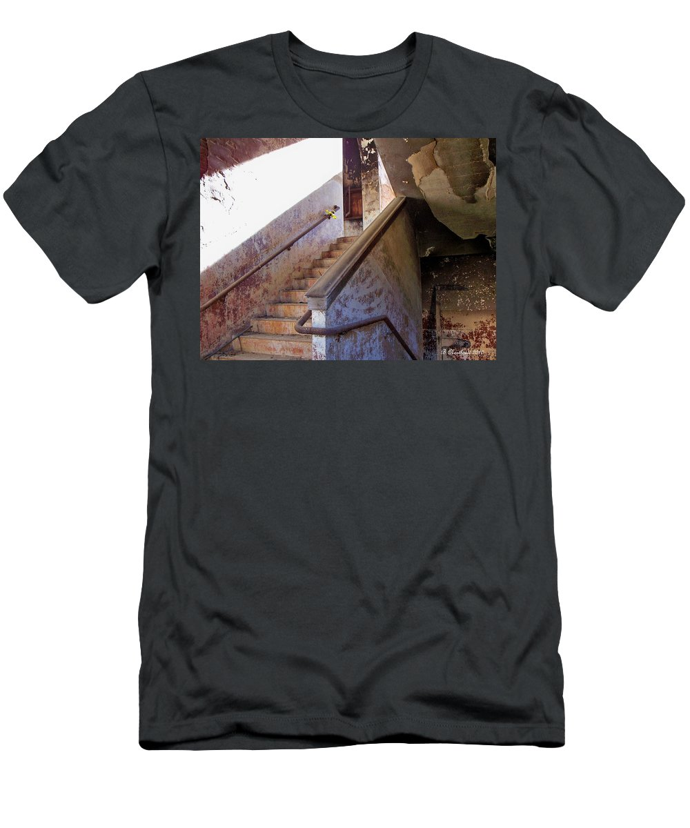 Stair Men's T-Shirt (Athletic Fit) featuring the photograph Stairway To Yesterday by Betty Northcutt