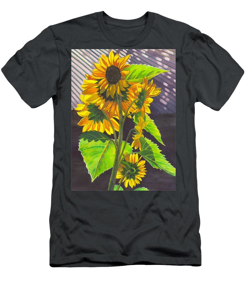 Sunflowers Men's T-Shirt (Athletic Fit) featuring the painting Stalk Of Sunflowers by Catherine G McElroy