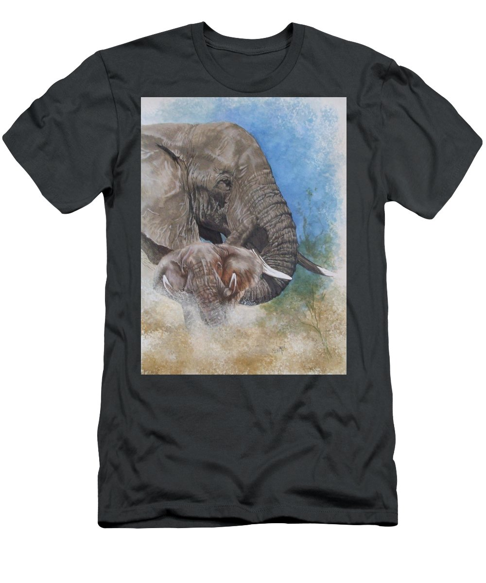 Elephant Men's T-Shirt (Athletic Fit) featuring the mixed media Stalwart by Barbara Keith