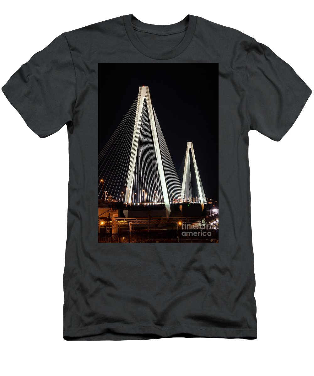 America Men's T-Shirt (Athletic Fit) featuring the photograph Stan Musial Veterans Bridge by Jennifer White