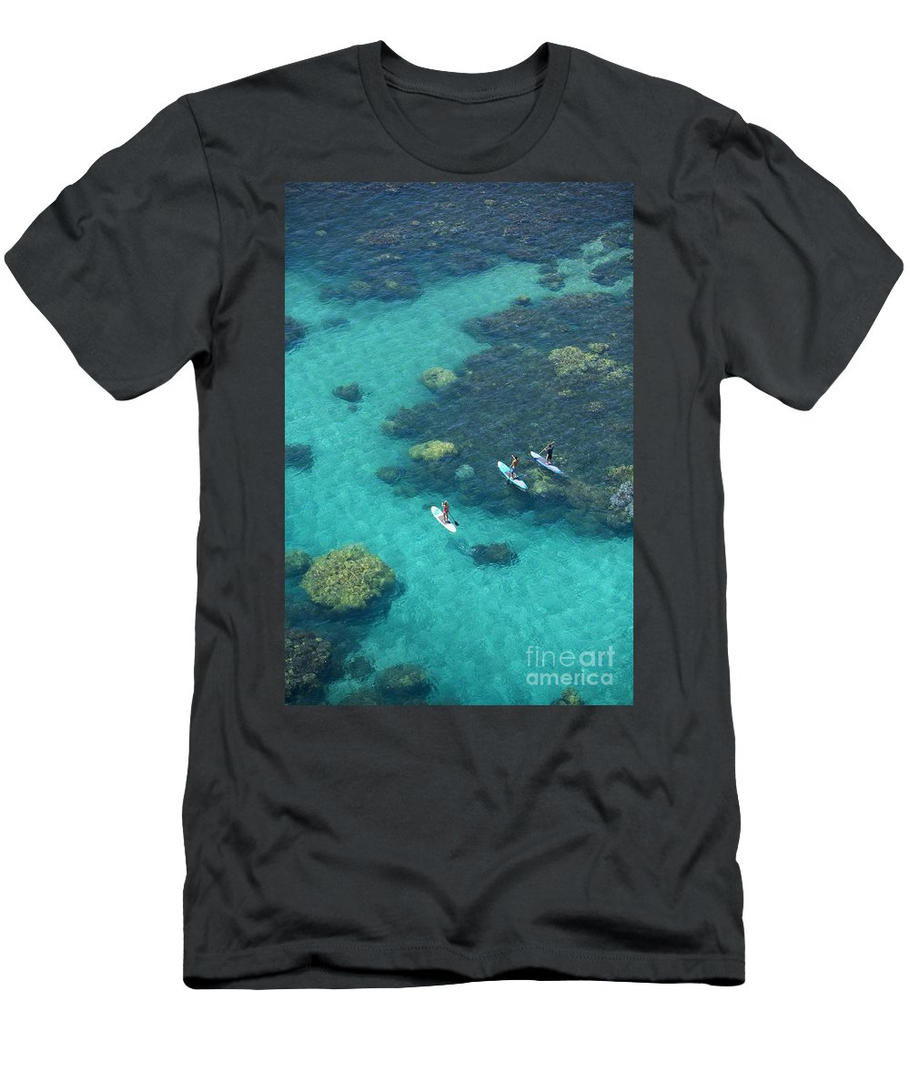 Adrenaline Men's T-Shirt (Athletic Fit) featuring the photograph Stand Up Paddlers by Ron Dahlquist - Printscapes