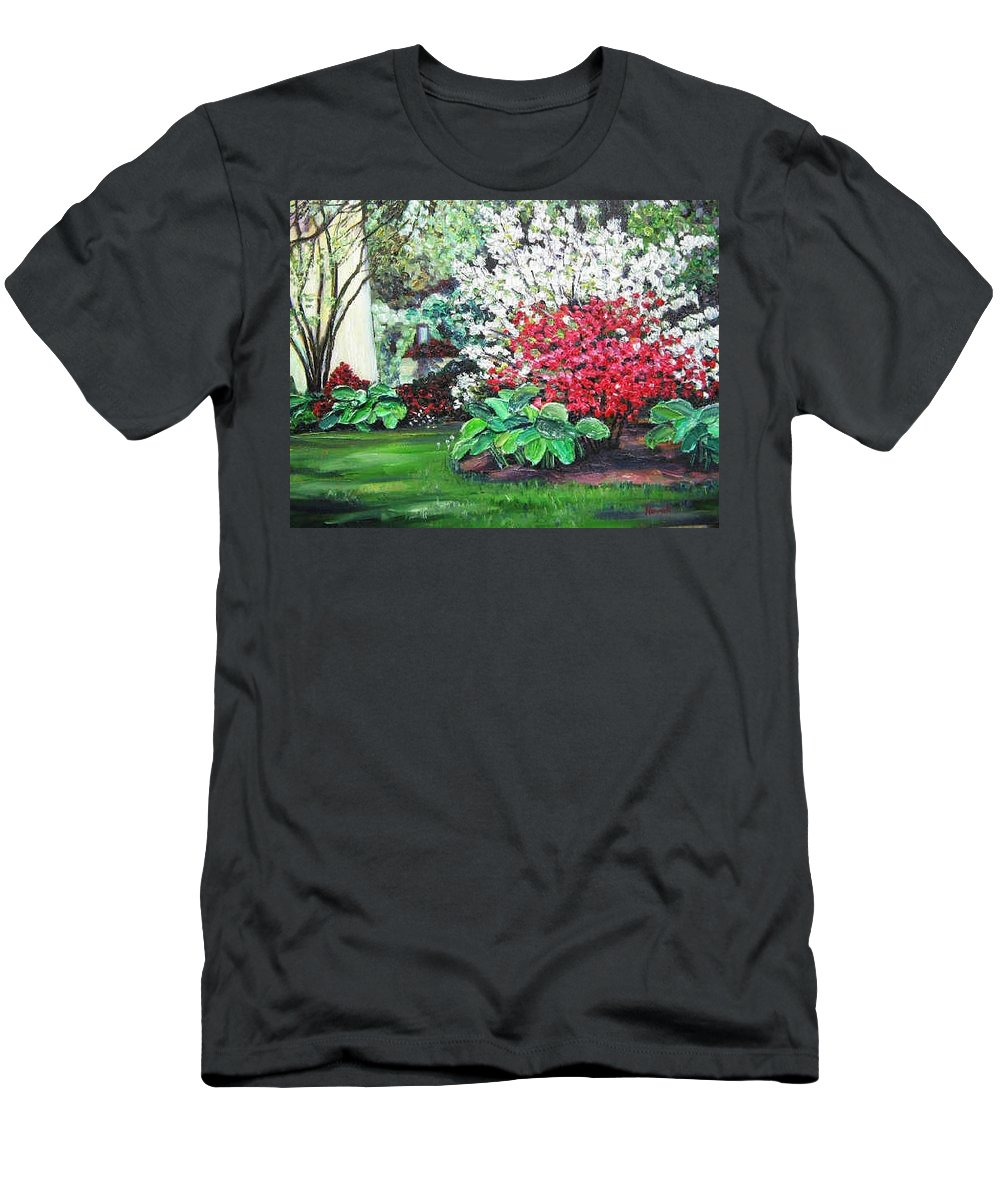 Blossoms Men's T-Shirt (Athletic Fit) featuring the painting Stanely Park Blossoms by Richard Nowak