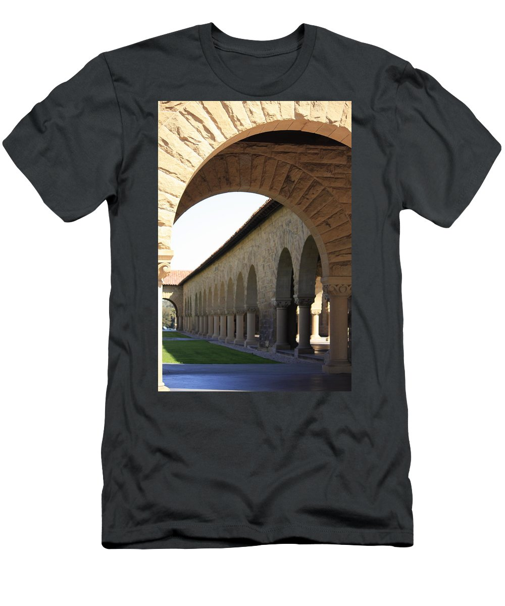 Stanford University Men's T-Shirt (Athletic Fit) featuring the photograph Stanford Memorial Court Arches I by Linda Dunn