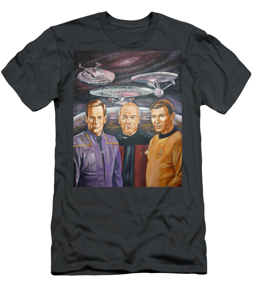 Star Trek Men's T-Shirt (Athletic Fit) featuring the painting Star Trek Tribute Enterprise Captains by Bryan Bustard