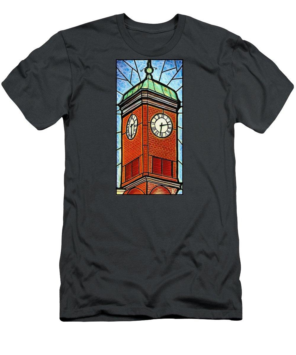 Clocks Men's T-Shirt (Athletic Fit) featuring the painting Staunton Clock Tower Landmark by Jim Harris