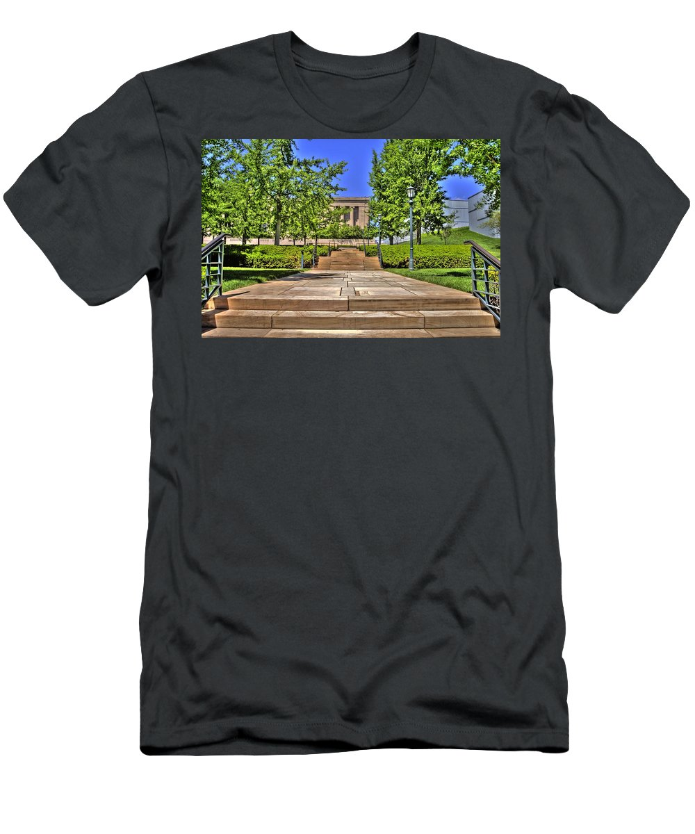 Hdr Men's T-Shirt (Athletic Fit) featuring the photograph Steps To The Nelson by Timothy Bischoff