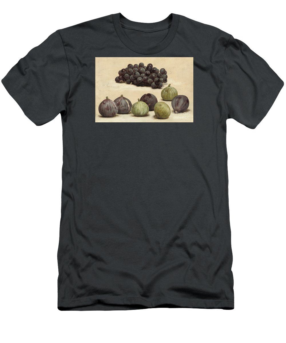 John William Godward -still Life Of Grapes And Figs C.1912. Fruits Men's T-Shirt (Athletic Fit) featuring the painting Still Life Of Grapes And Figs by MotionAge Designs