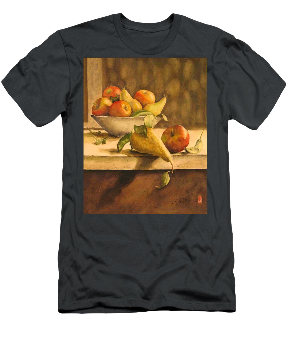 Still-life T-Shirt featuring the painting Still-life with Apples and Pears by Piety Choi