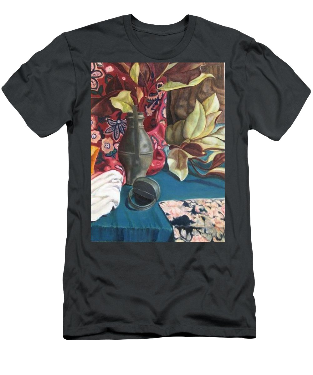 Still-life Men's T-Shirt (Athletic Fit) featuring the painting Still-life With Magnolia Leaves by Piety Choi