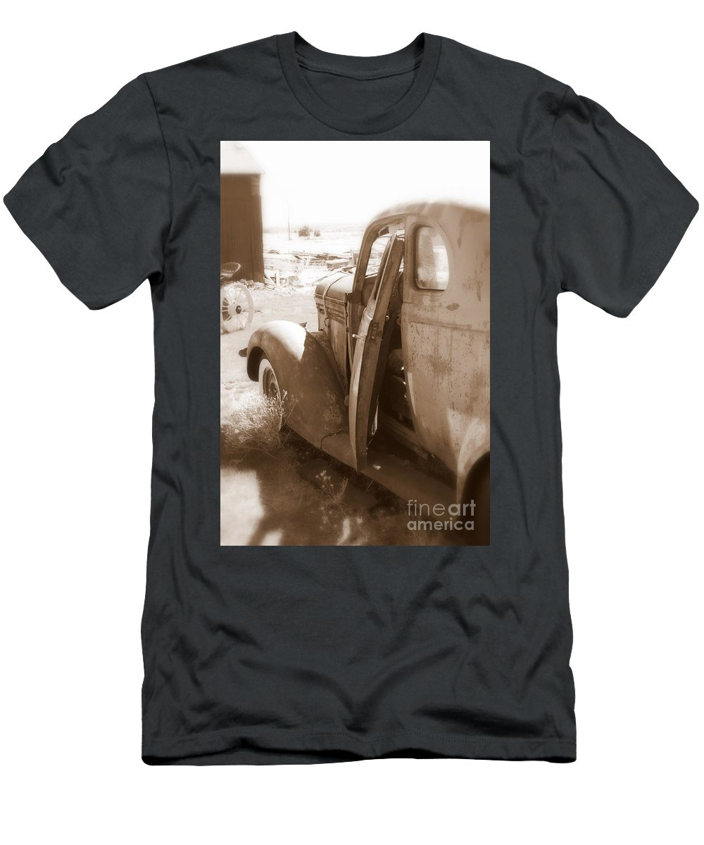 Disrepair Men's T-Shirt (Athletic Fit) featuring the photograph Still Waiting On Repairs by Carol Groenen