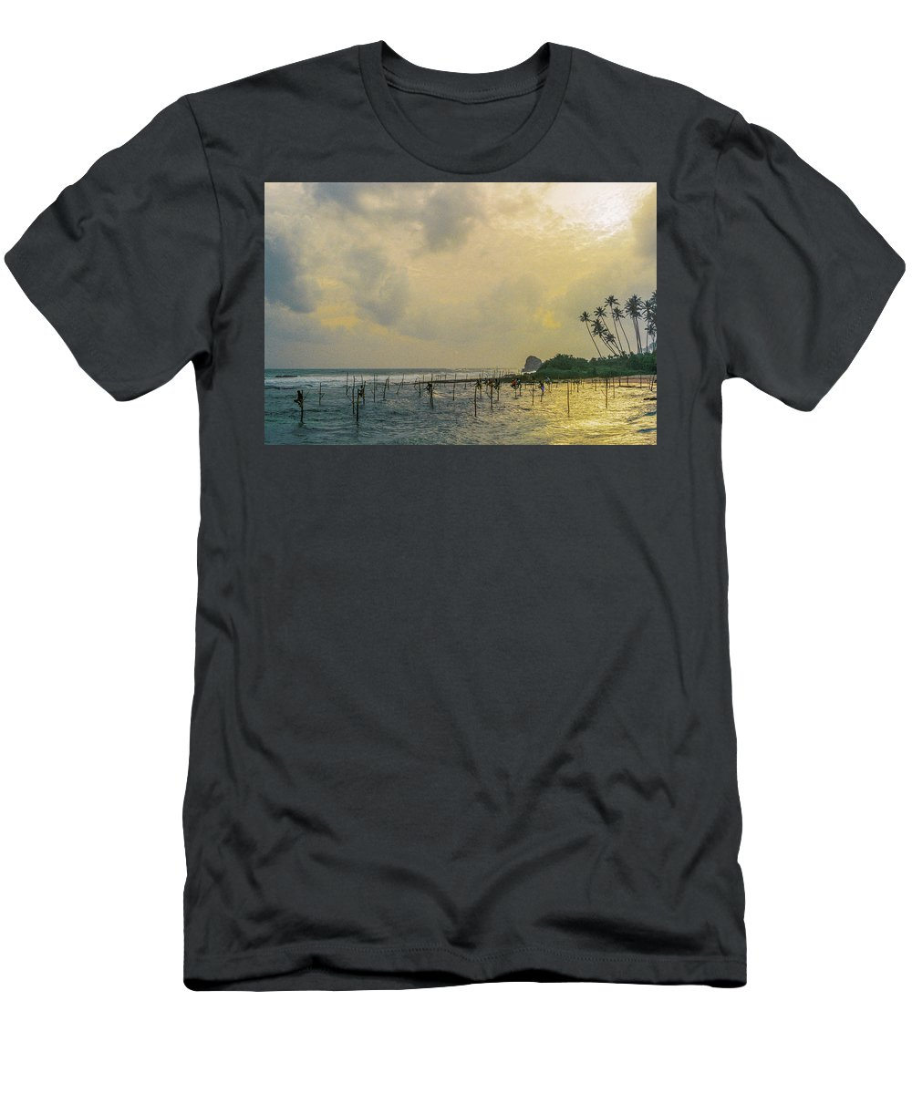 Stilt Fisherman Men's T-Shirt (Athletic Fit) featuring the photograph Stilt Fisherman by Briana M
