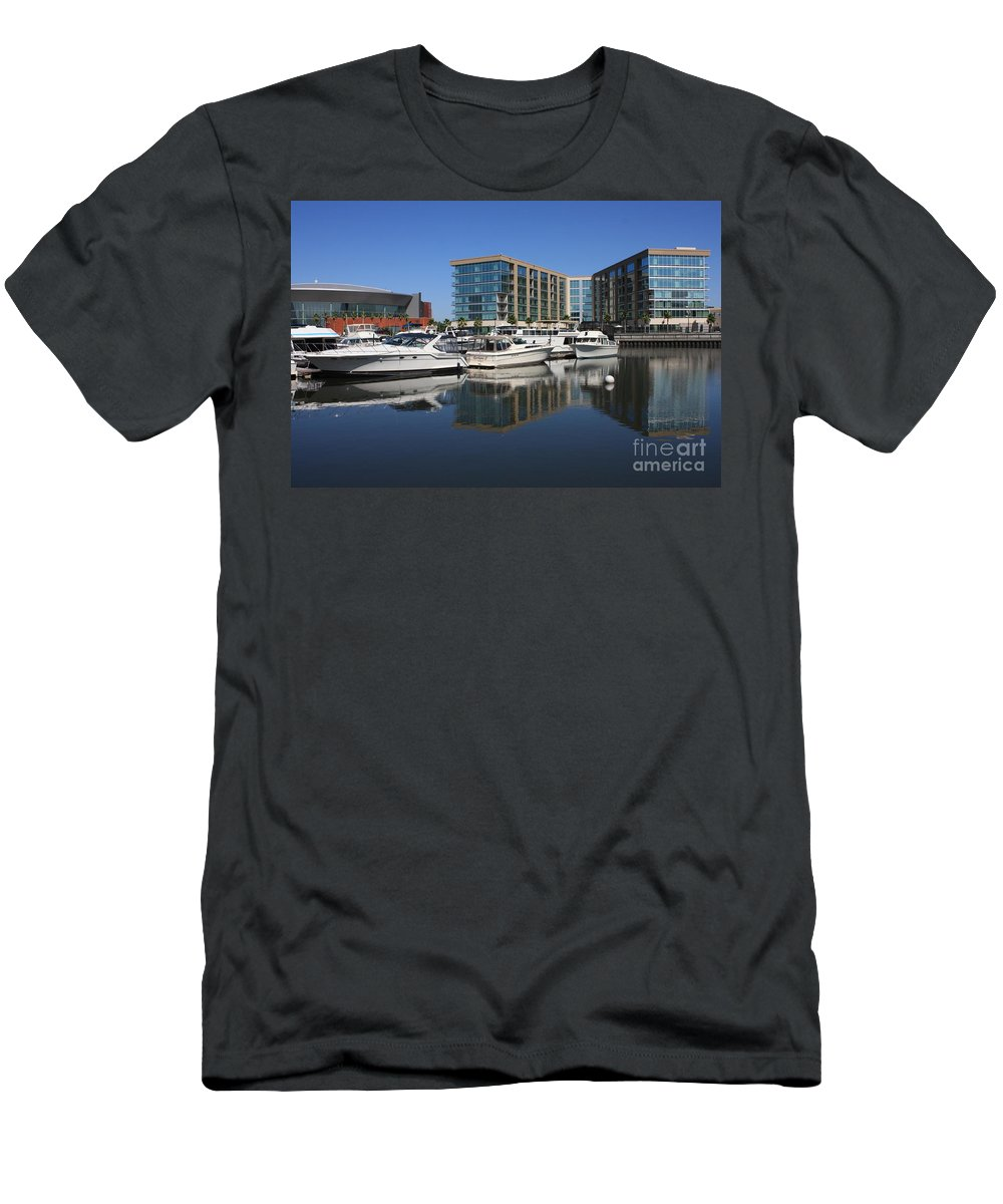 Stockton Men's T-Shirt (Athletic Fit) featuring the photograph Stockton Waterscape by Carol Groenen