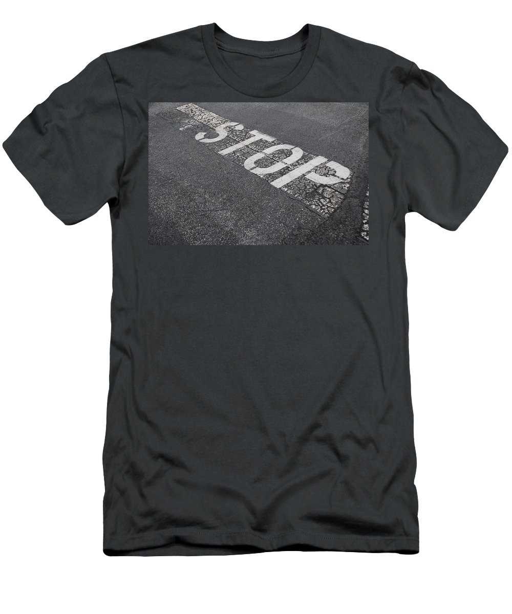 Black And White Men's T-Shirt (Athletic Fit) featuring the photograph Stop Sign by Rob Hans