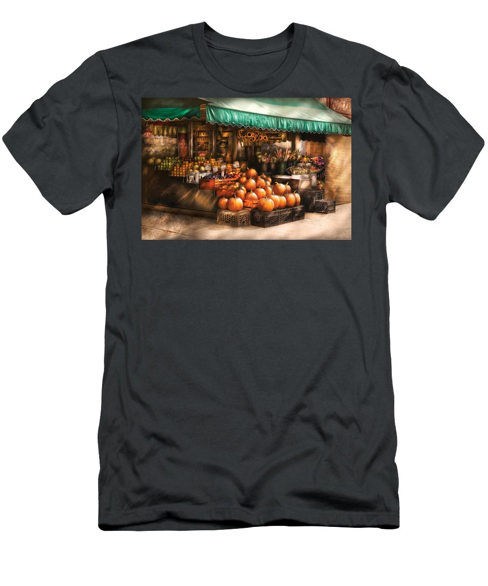 Hoboken Men's T-Shirt (Athletic Fit) featuring the photograph Store - Hoboken Nj - The Fruit Market by Mike Savad