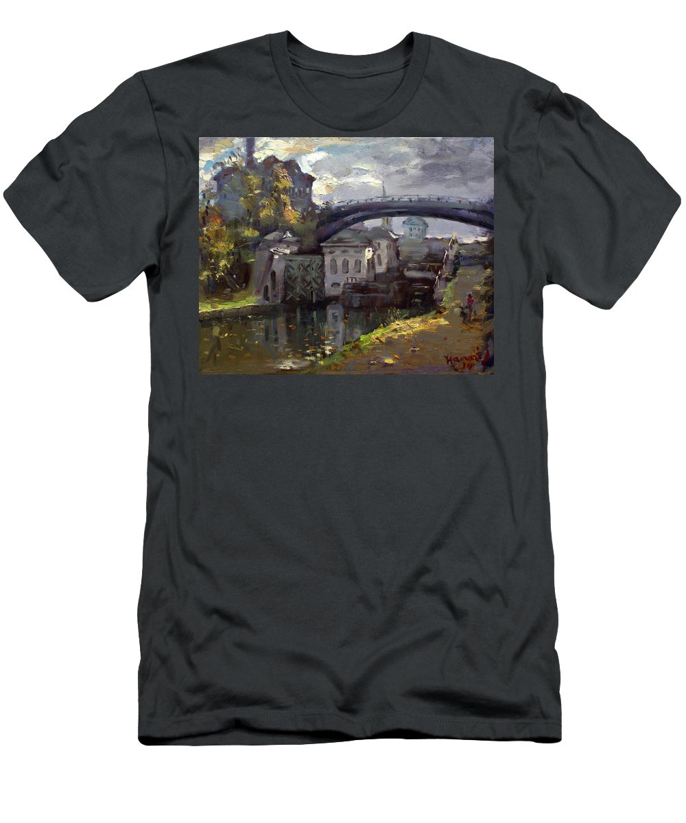Lockport Locks Men's T-Shirt (Athletic Fit) featuring the painting Storm Aproach At Lockport Locks by Ylli Haruni