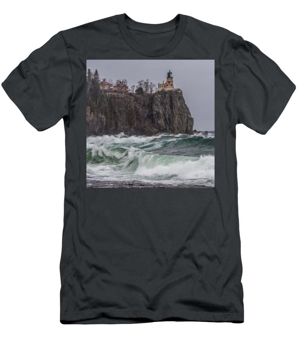 Split Rock Lighthouse Men's T-Shirt (Athletic Fit) featuring the photograph Storm At Split Rock Lighthouse by Paul Freidlund
