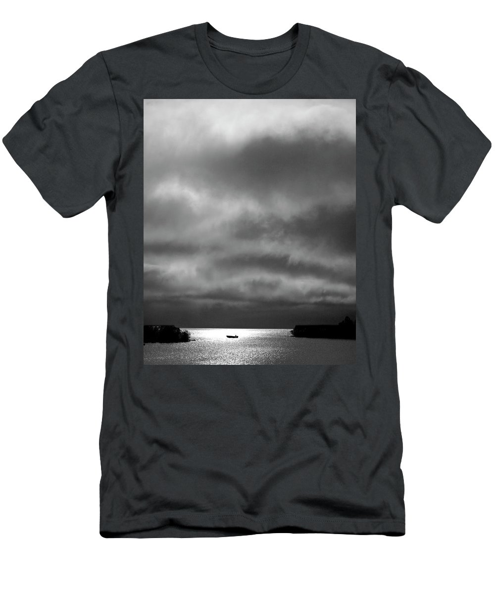 Men's T-Shirt (Athletic Fit) featuring the digital art Storm Clouds Approaching Boat On Northern Saskatchewan Lake by Mark Duffy
