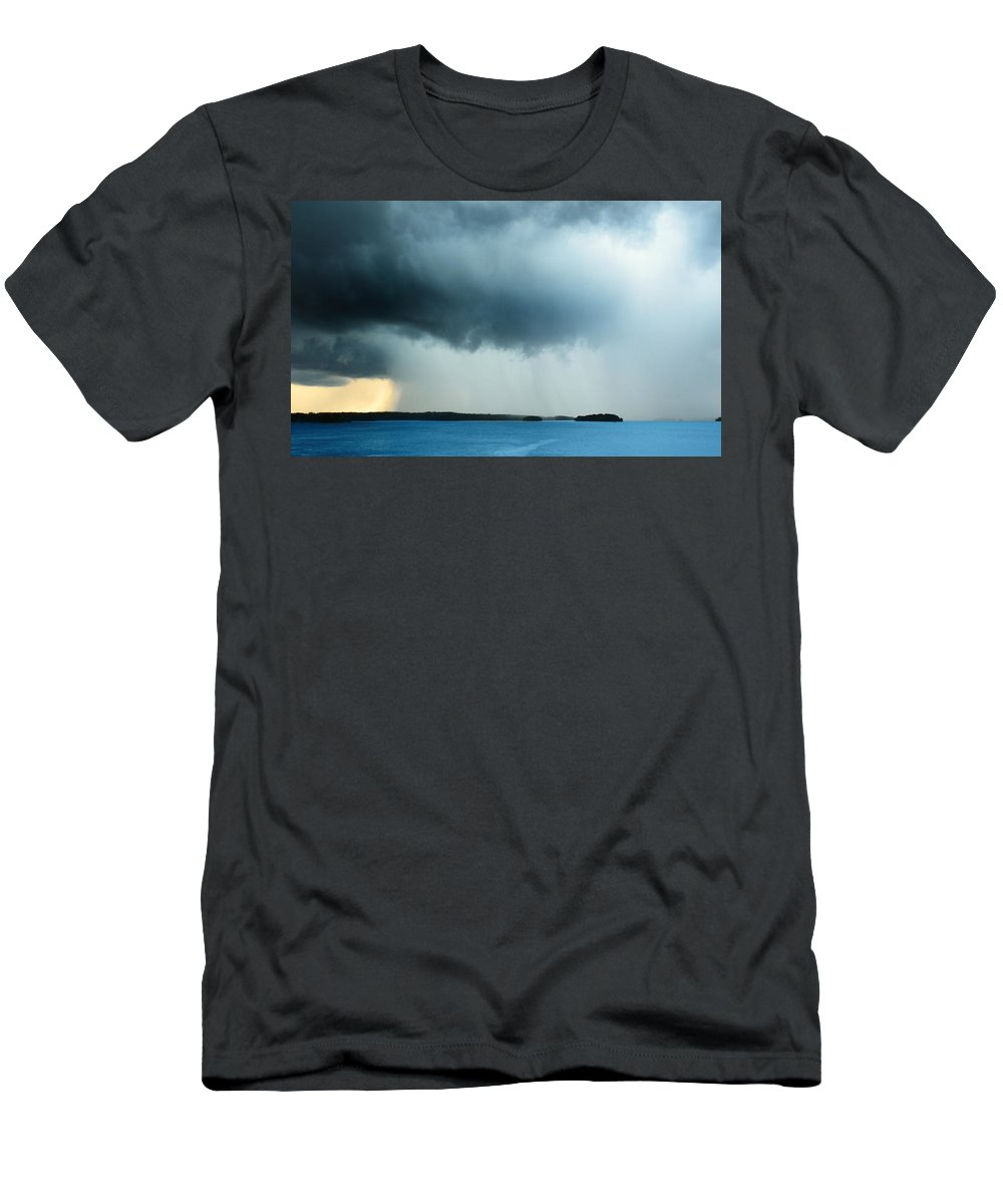 Storm Men's T-Shirt (Athletic Fit) featuring the photograph Storm Over Water by Ally White