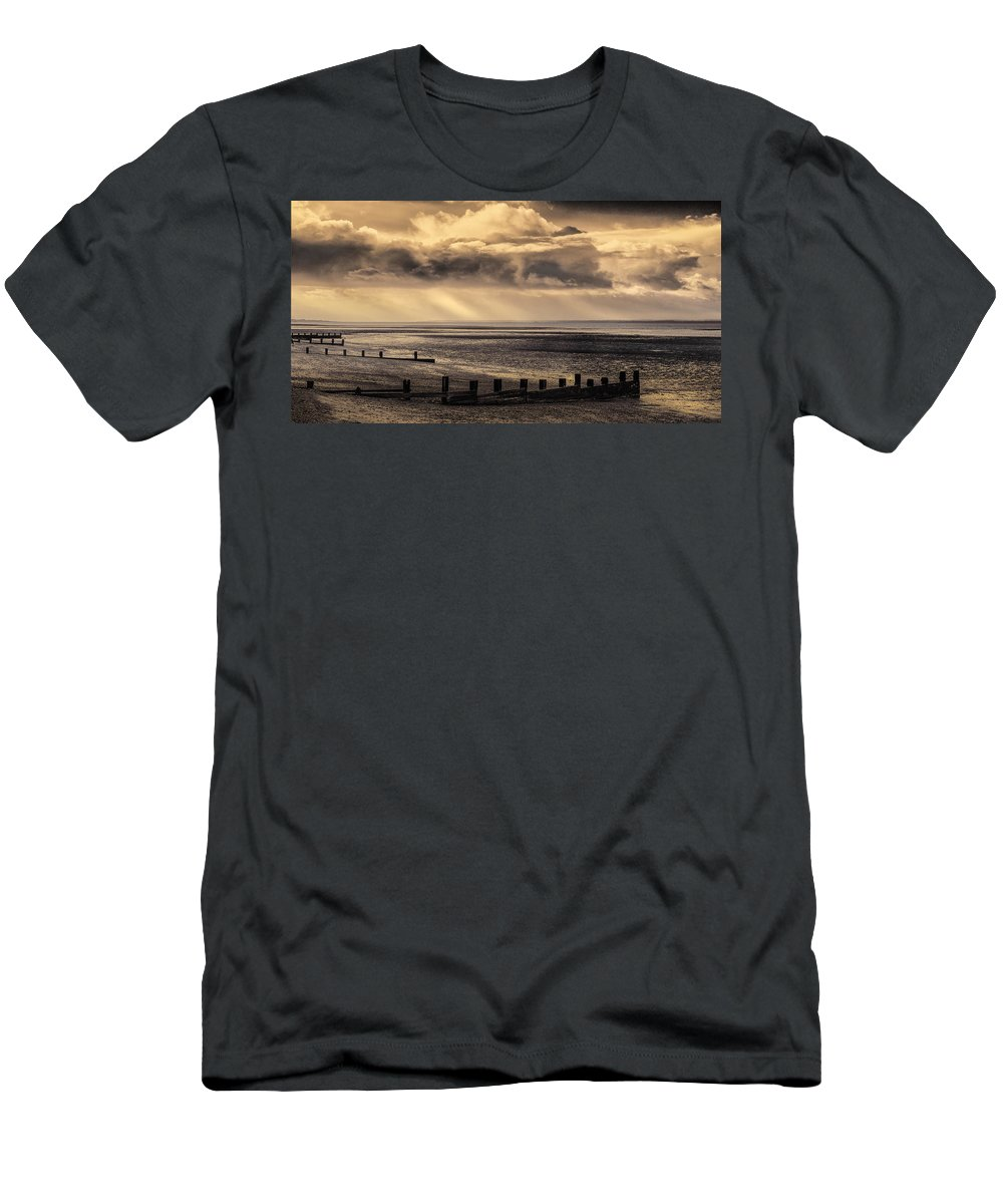 Beach Men's T-Shirt (Athletic Fit) featuring the photograph Stormy English Coastal Seascape by Peter Hayward Photographer