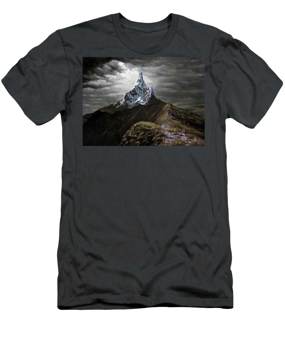 Landscapes Men's T-Shirt (Athletic Fit) featuring the painting Stormy Mountain by Dan Wheeler