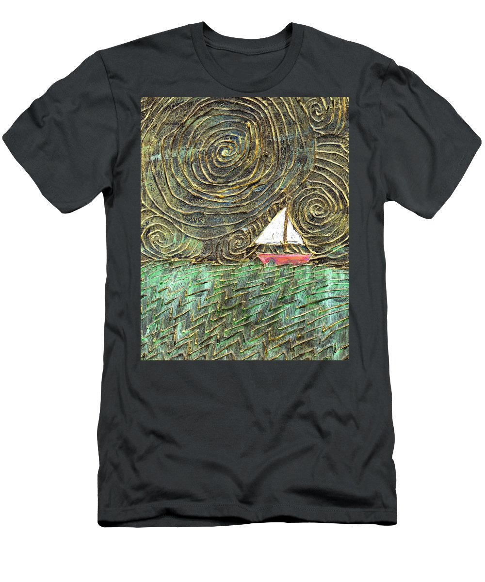 Storm Men's T-Shirt (Athletic Fit) featuring the painting Stormy Night by Wayne Potrafka