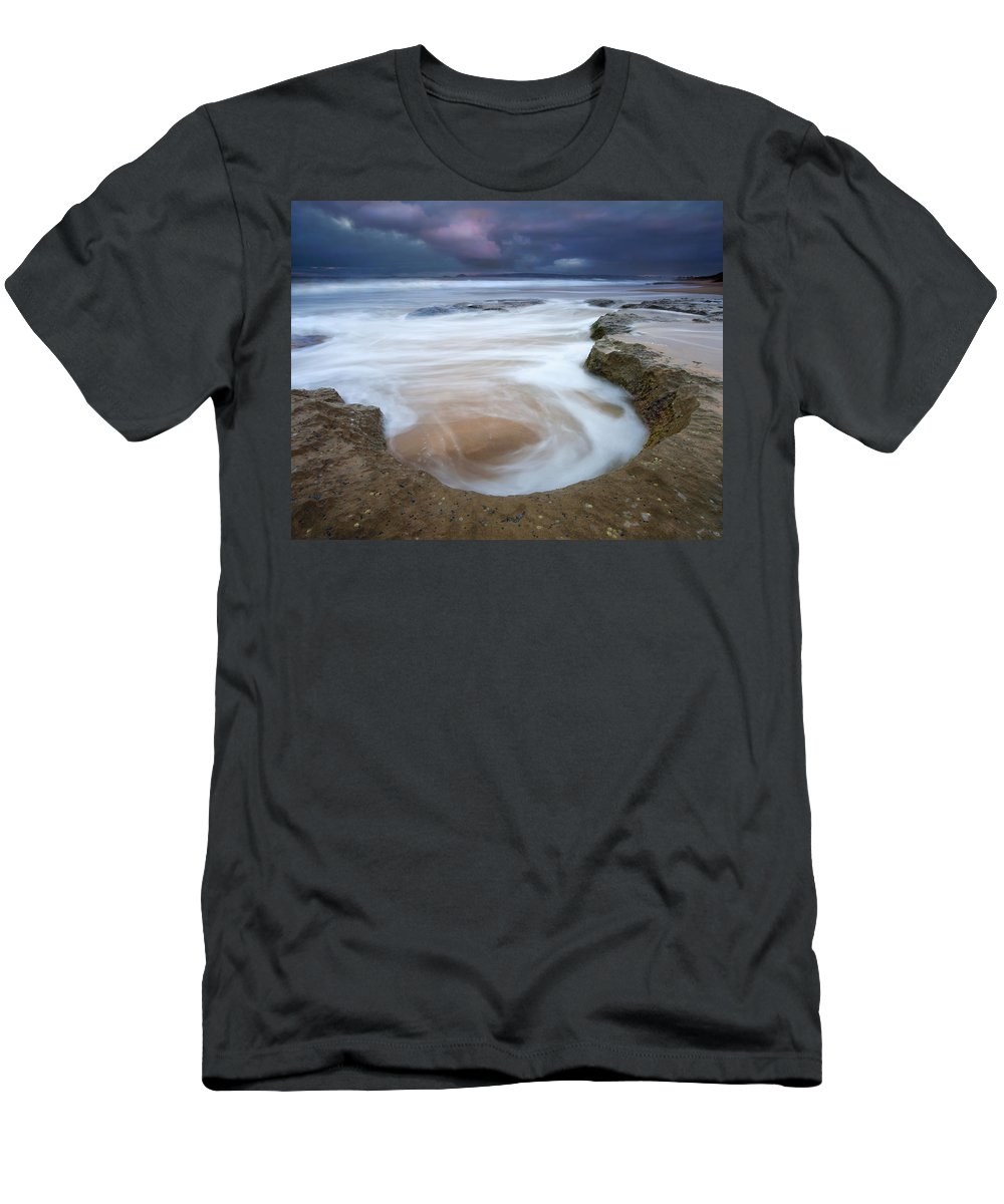 Sunrise Men's T-Shirt (Athletic Fit) featuring the photograph Stormy Sunrise by Mike Dawson