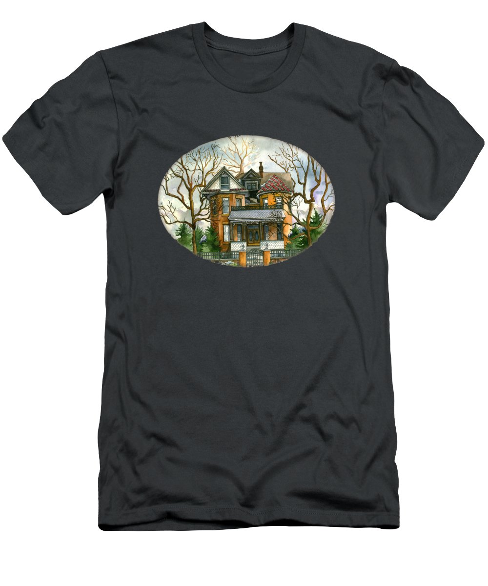 Victorian Men's T-Shirt (Athletic Fit) featuring the painting Stormy Winter Skies by Shelley Wallace Ylst