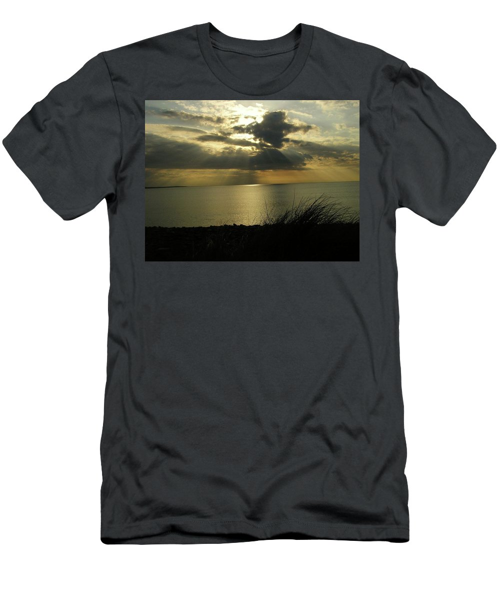 Seascape Men's T-Shirt (Athletic Fit) featuring the photograph Strandhill Co Sligo Ireland by Louise Macarthur Art and Photography