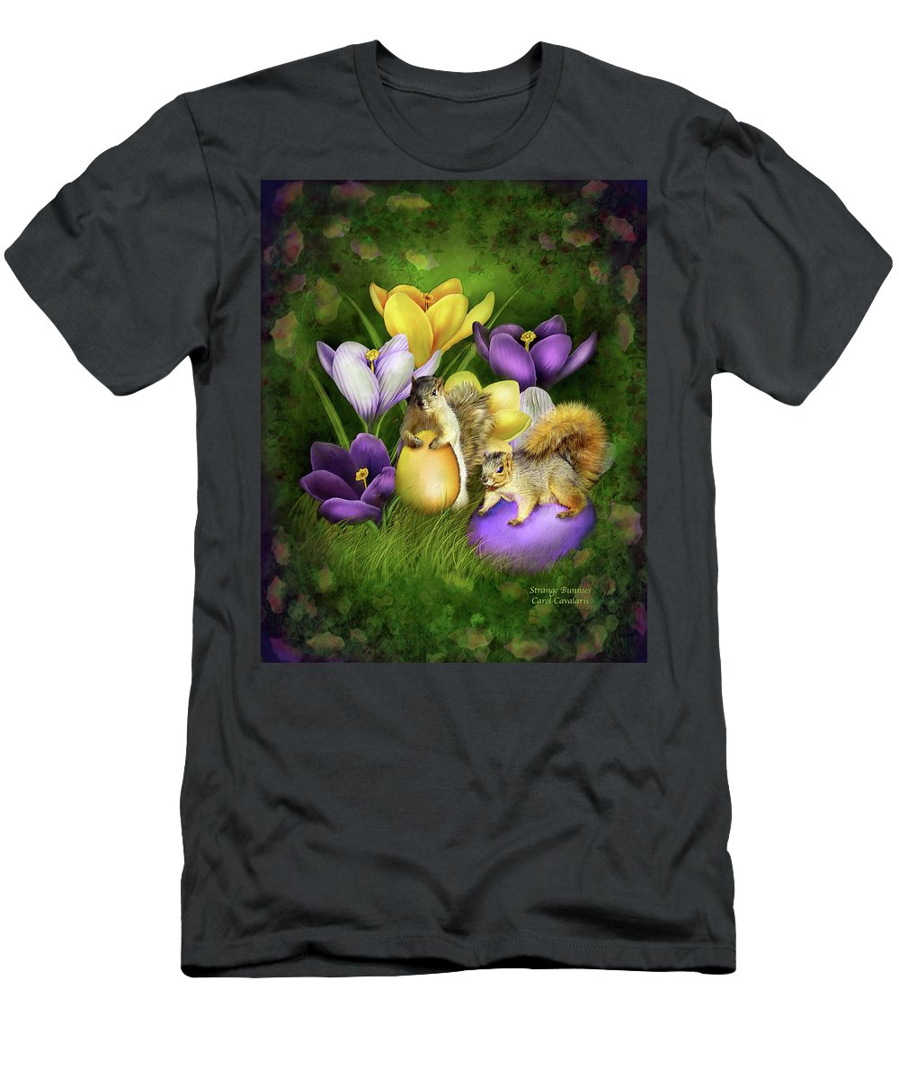 Easter Art Men's T-Shirt (Athletic Fit) featuring the mixed media Strange Bunnies by Carol Cavalaris