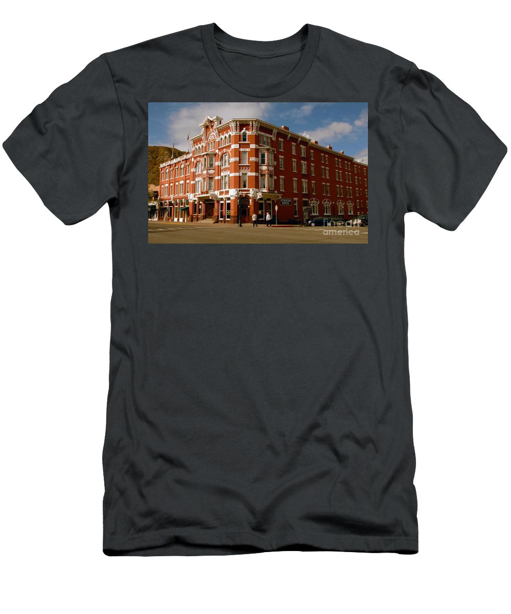 Strater Hotel Durango Colorado Men's T-Shirt (Athletic Fit) featuring the photograph Strater Hotel 1887 by David Lee Thompson
