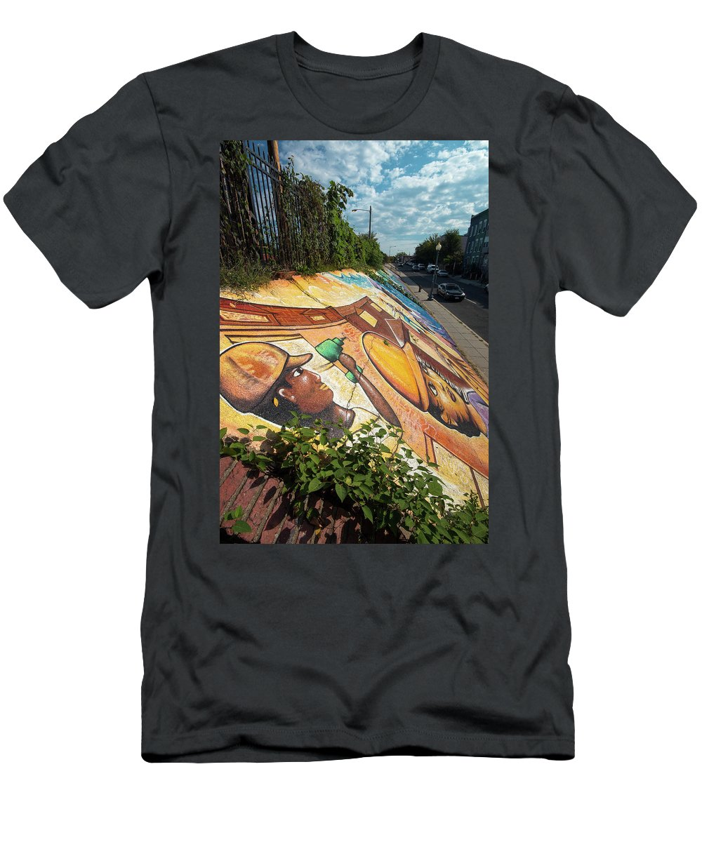 America Men's T-Shirt (Athletic Fit) featuring the photograph Street Art At Washington D.c. - Cultivating The Rebirth 3 by Riccardo Forte