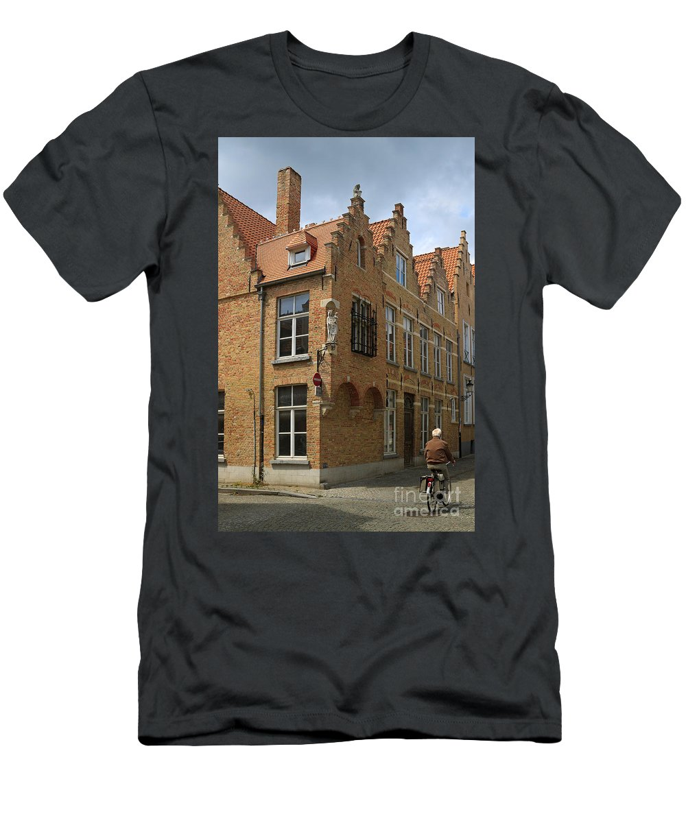 Street Men's T-Shirt (Athletic Fit) featuring the photograph Street Corner In Bruges Belgium by Louise Heusinkveld