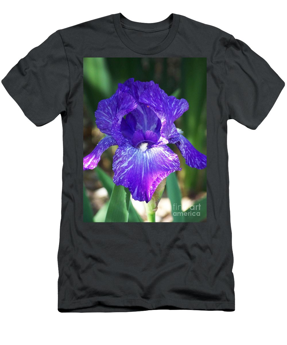 Flowers Men's T-Shirt (Athletic Fit) featuring the photograph Striped Blue Iris by Kathy McClure