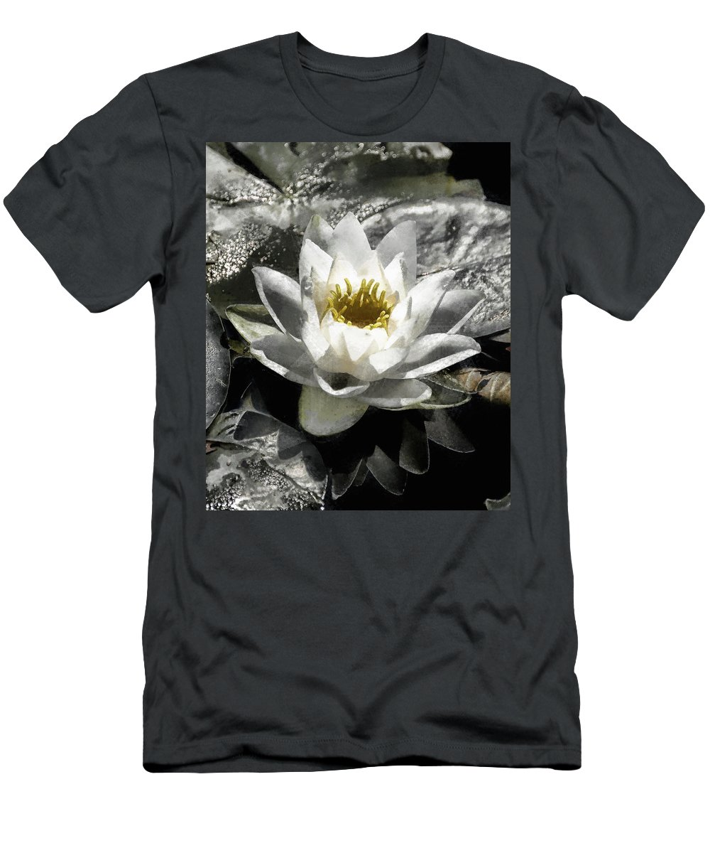 Water Lily Men's T-Shirt (Athletic Fit) featuring the digital art Strokes Of The Lily by JGracey Stinson