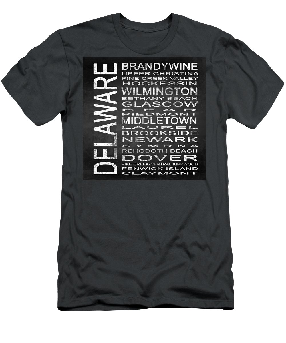 Subway Sign Men's T-Shirt (Athletic Fit) featuring the digital art Subway Delaware State Square by Melissa Smith