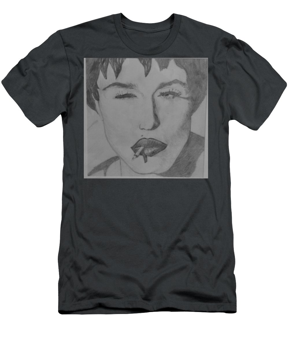 Madonna Sultry Men's T-Shirt (Athletic Fit) featuring the drawing Sultry Madonna by Paul Gibbins
