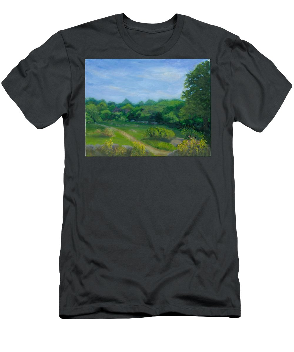 Landscape Men's T-Shirt (Athletic Fit) featuring the painting Summer Afternoon At Ashlawn Farm by Paula Emery