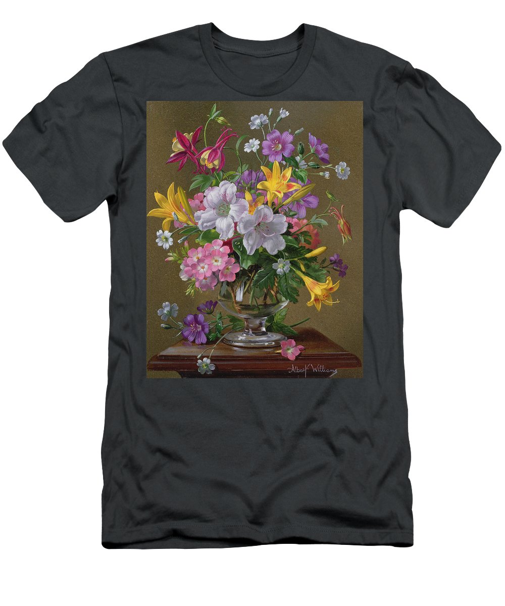 Still-life Men's T-Shirt (Athletic Fit) featuring the painting Summer Arrangement In A Glass Vase by Albert Williams