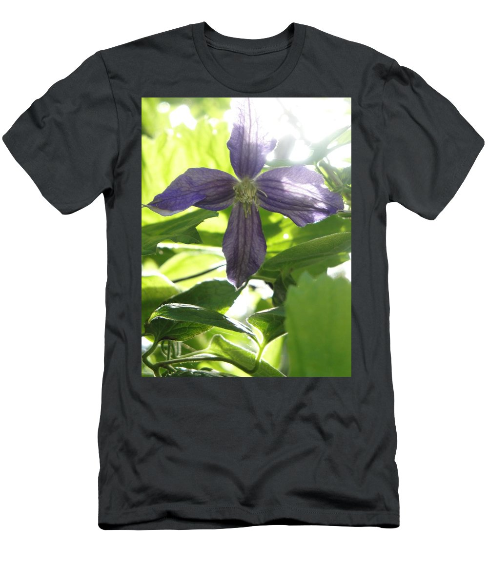 Flora Men's T-Shirt (Athletic Fit) featuring the photograph Summer Clematis In Light Shade by Susan Baker