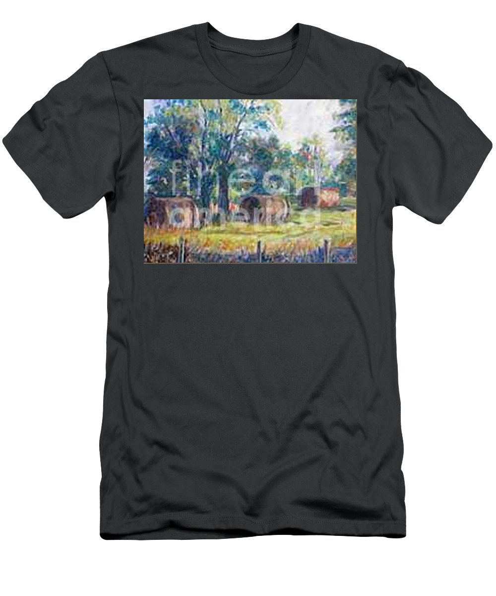 Landscape Men's T-Shirt (Athletic Fit) featuring the painting Summer Idyll by Jan Bennicoff