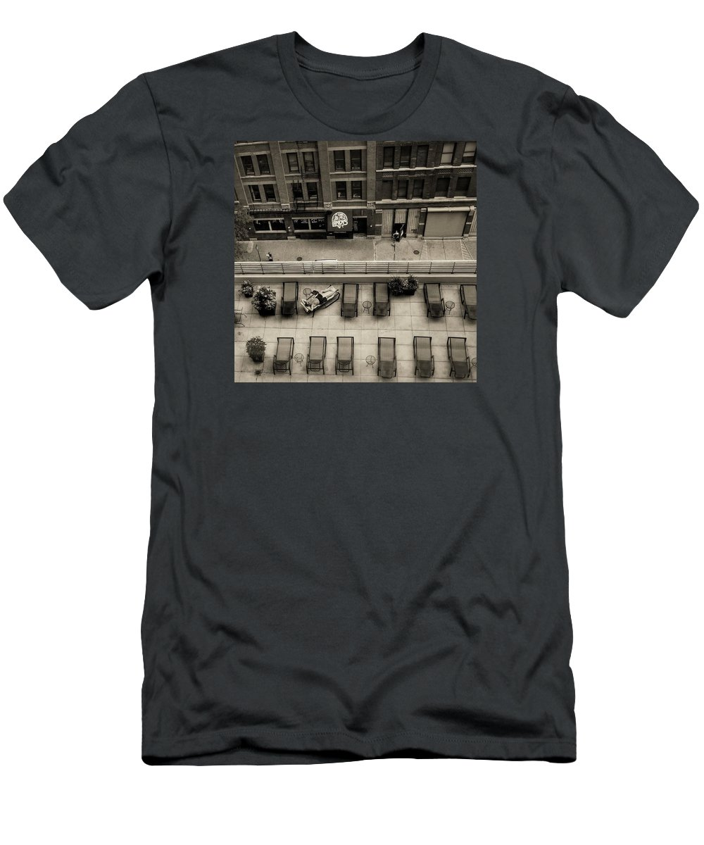 Sepia Men's T-Shirt (Athletic Fit) featuring the photograph Summer In Chicago by Dario Boriani
