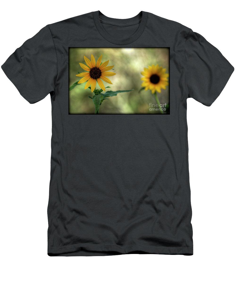 Yellow Sunflowers Men's T-Shirt (Athletic Fit) featuring the photograph Summer Of Sunflowers by Saija Lehtonen